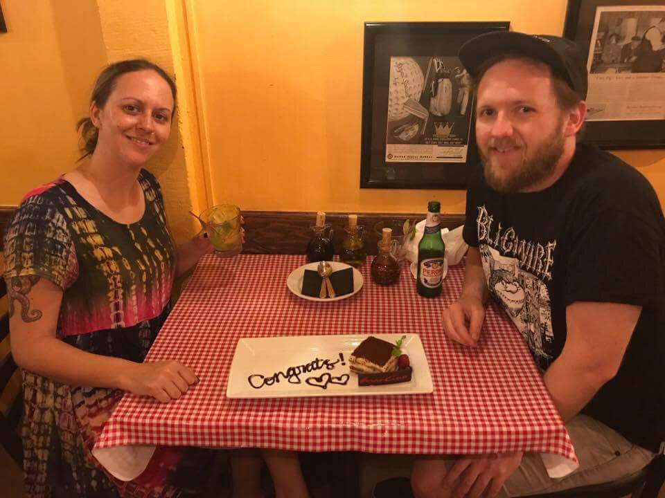 Luke and Alicia celebrating their engagement