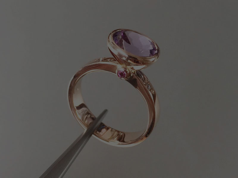 Amethyst and rose gold handmade ring