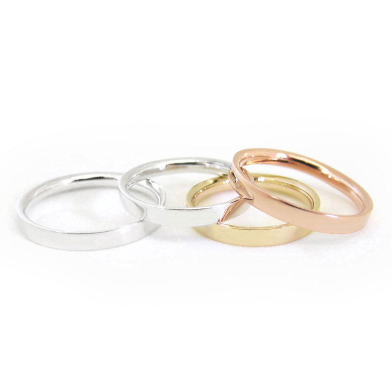 Rose gold, yellow gold and white gold wedding bands