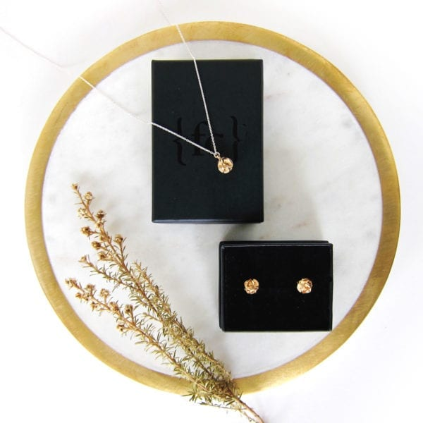 Gold necklace and earrings gift set