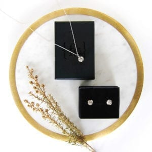 Silver necklace and earrings gift set