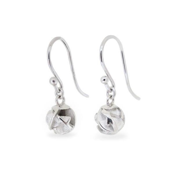 3D printed sterling silver dangly drop earrings