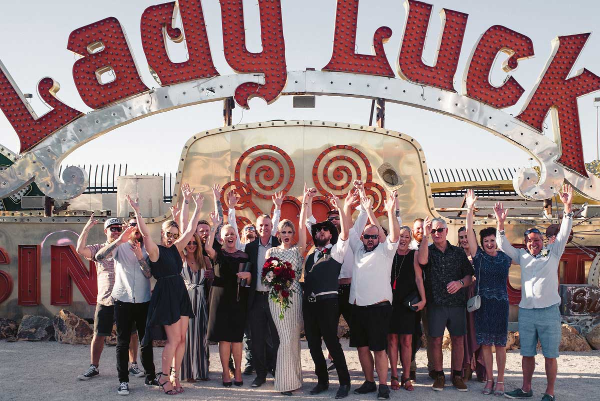 Vegas untraditional micro wedding under the Lady Luck sign