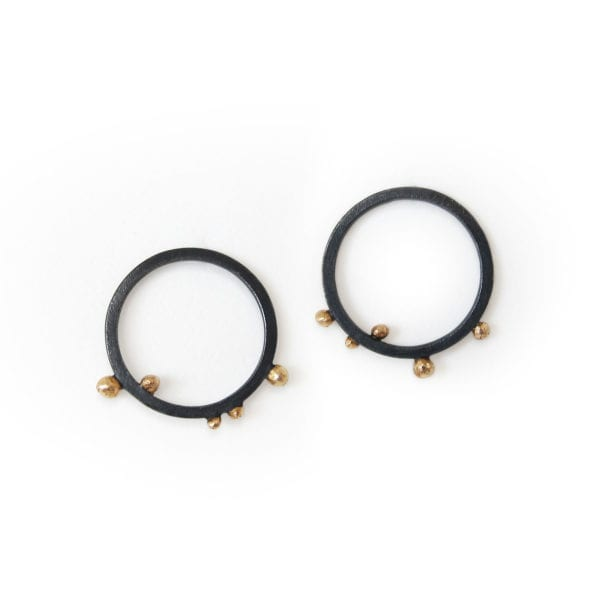 Sustainable black circle drop earrings with 18ct gold granules