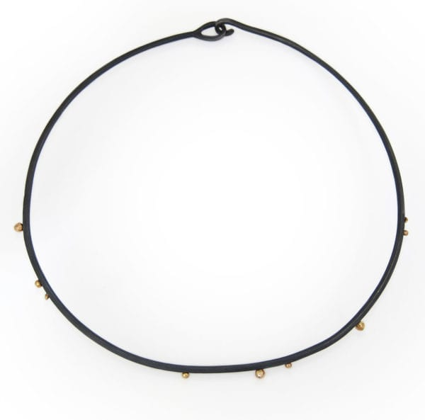 Black silver choker necklace with gold granules