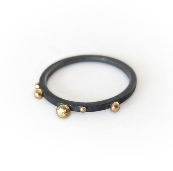 Black silver ring with 18ct gold granules