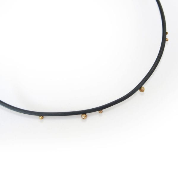 Choker necklace in oxidised sterling silver and gold granules