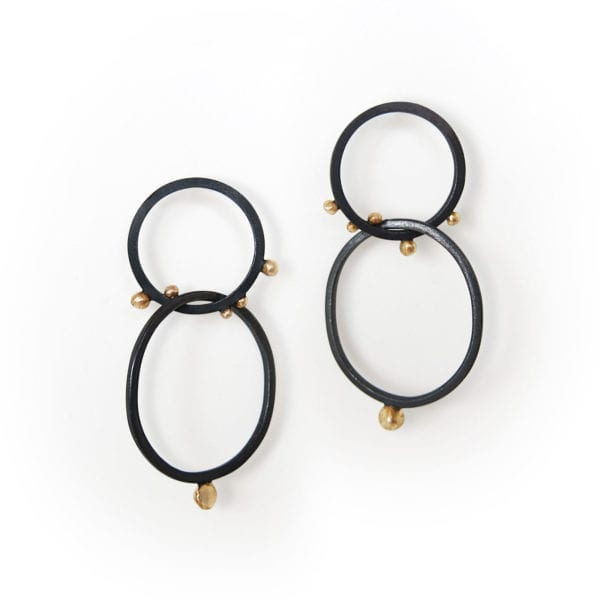 Oxidised eco friendly silver and gold drop earrings