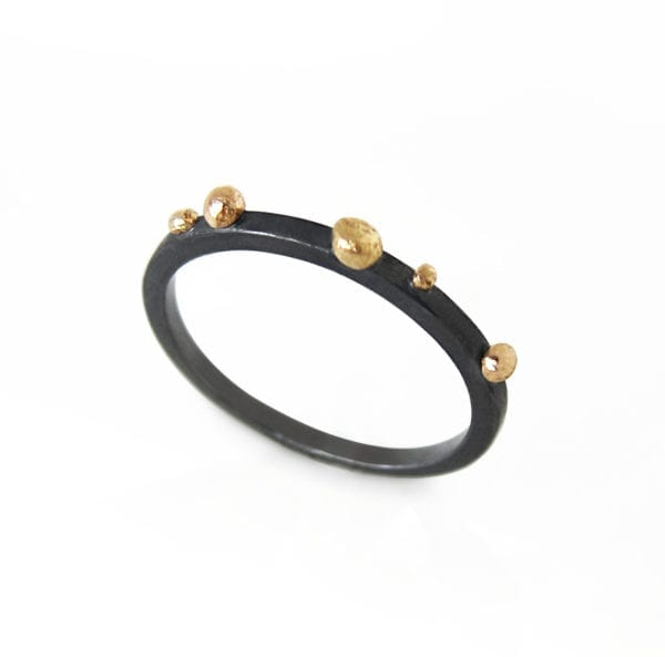 Oxidised silver ring with gold granules