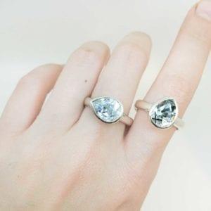 Tourmalinated quartz pear shaped cocktail rings