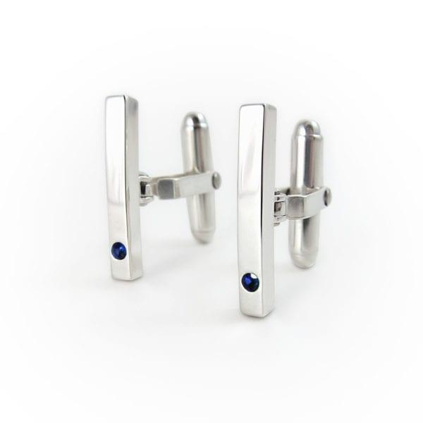 Sterling silver blue sapphire handmade bar cufflinks