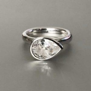 White rutilated quartz Isla ring in sterling silver