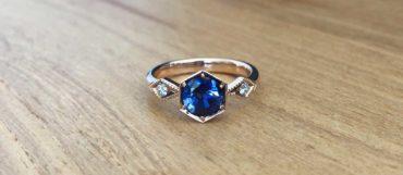 Sapphire, diamond and rose gold custom engagement rings, Sydney