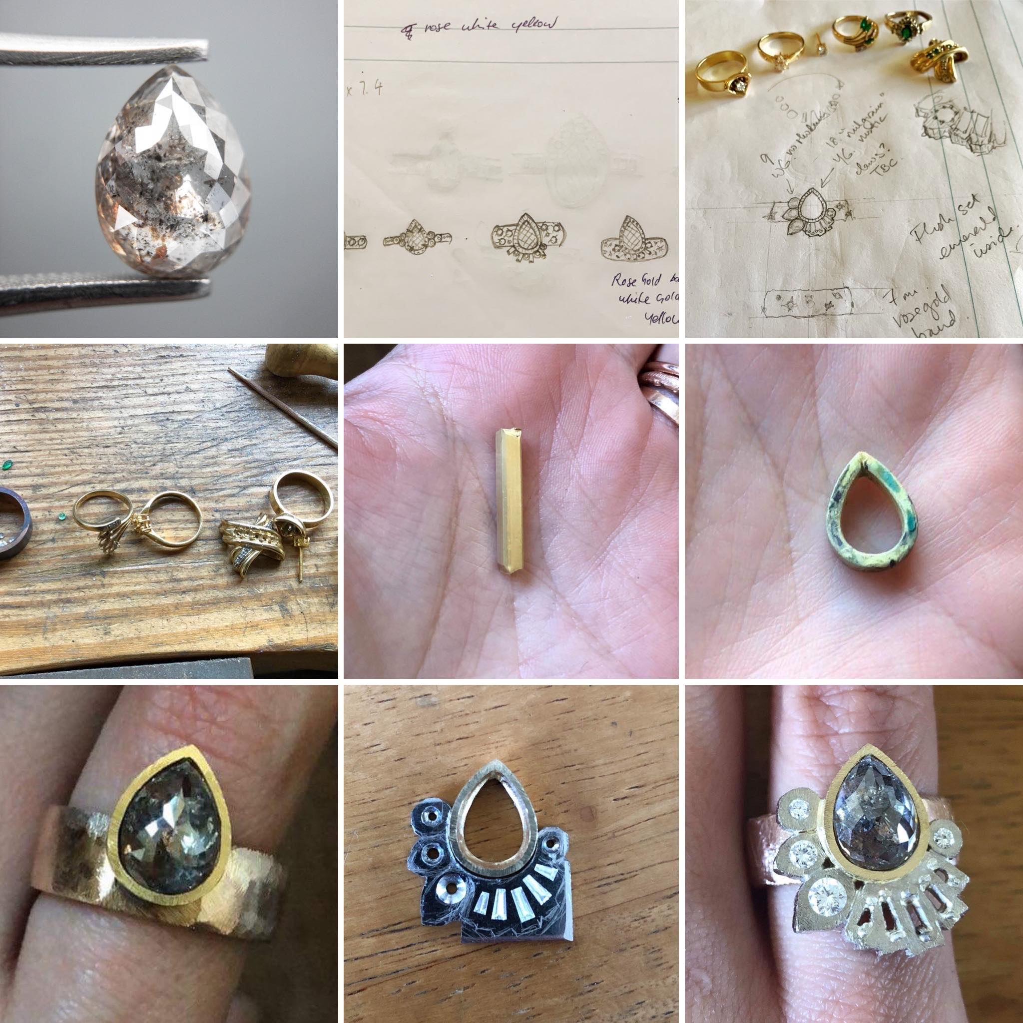 Salt and pepper pear shaped diamond remodelled ring from mum's old jewellery