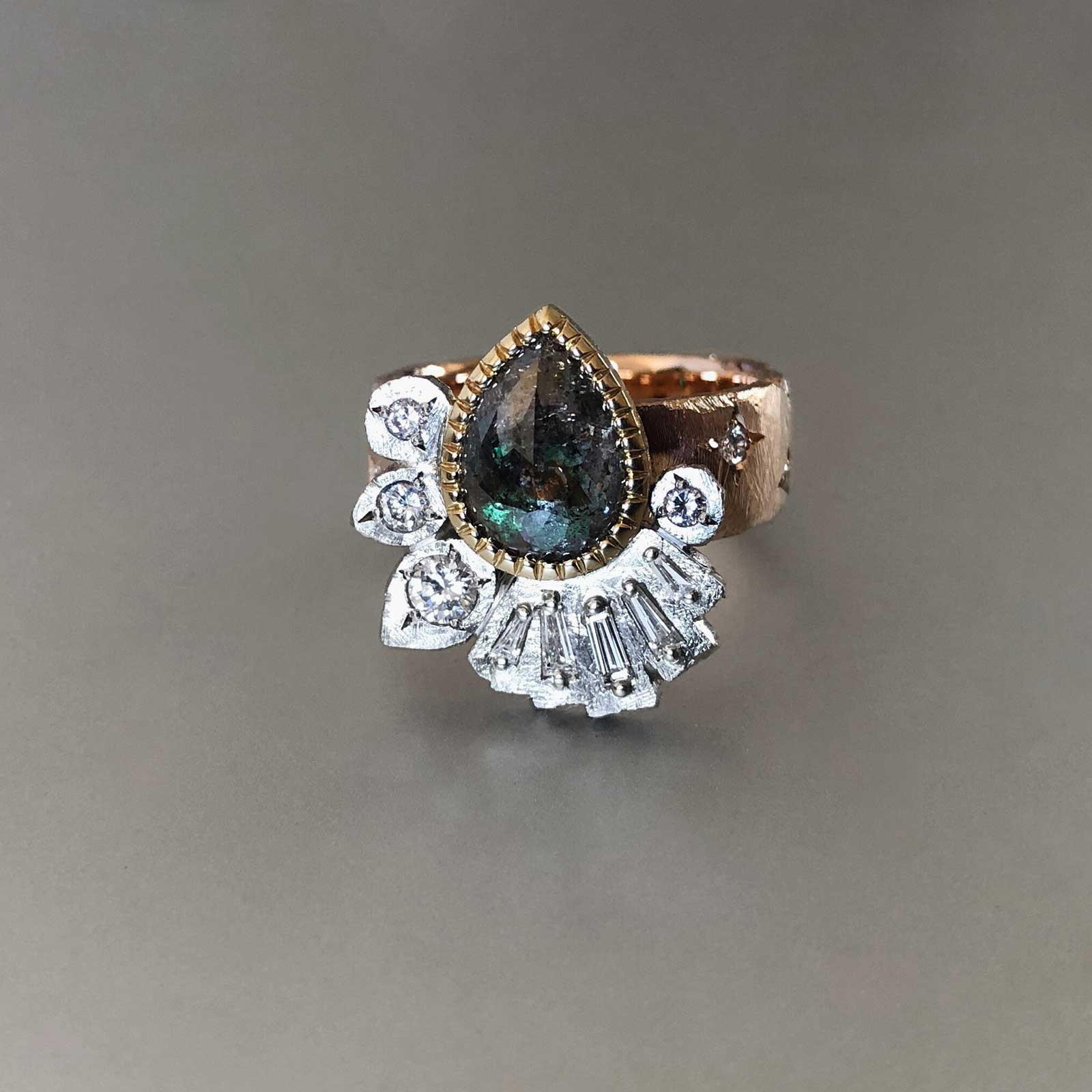 Rose gold, white gold, yellow gold salt and pepper diamond heirloom ring with star-set diamonds and an emerald