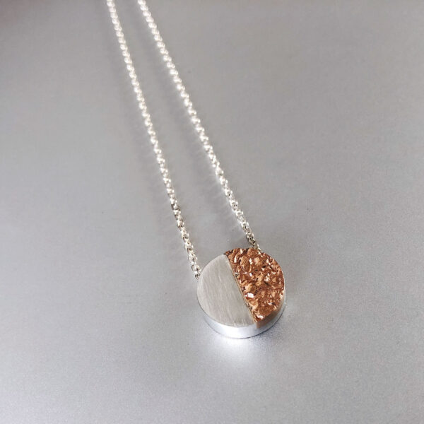 Sterling silver and rose gold textured disc necklace