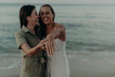 Engaged lesbian couple