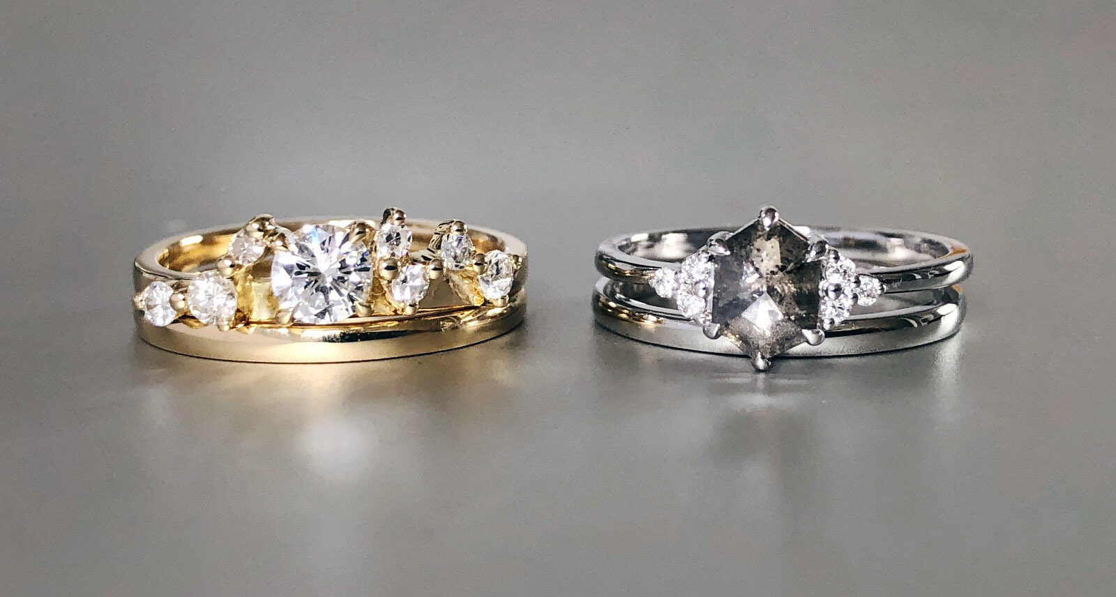 Hers and hers wedding and engagement rings